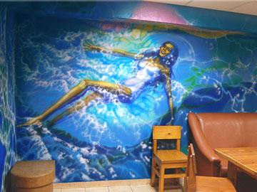 Роспись на стенах в сауне