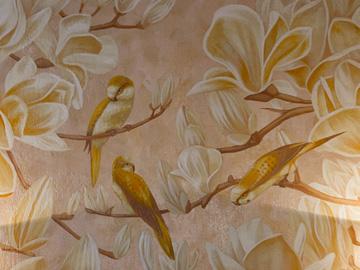 Роспись по декоративной штукатурке в спальне